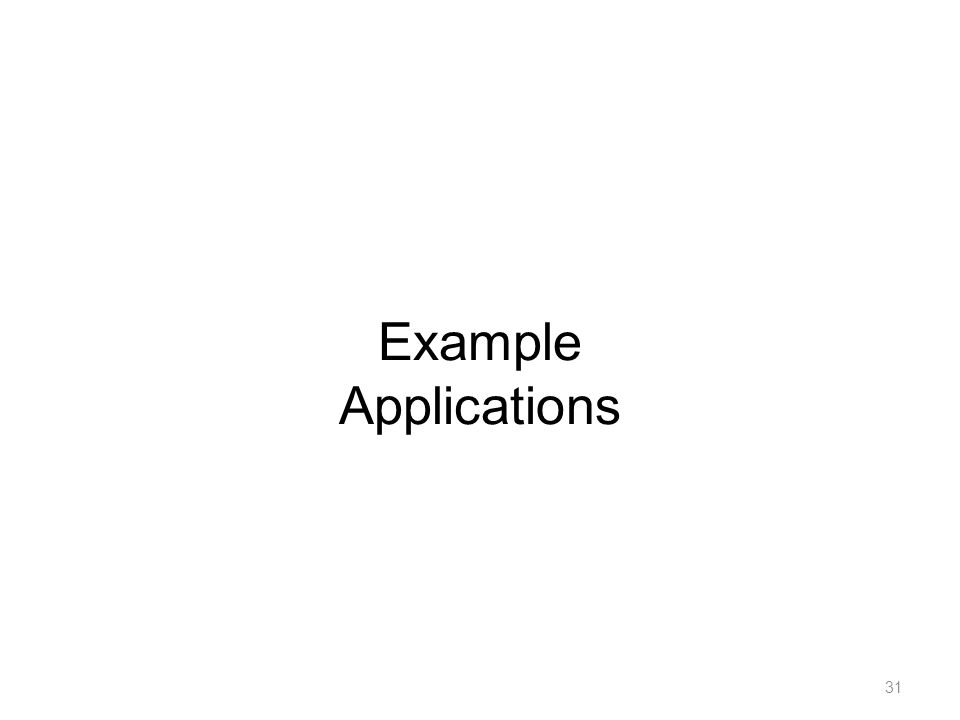 Example Applications 31
