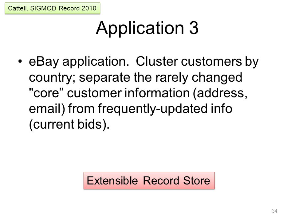 Application 3 eBay application. Cluster customers by country; separate the rarely changed
