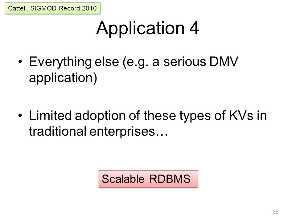 Application 4 Everything else (e.g. a serious DMV application) Limited adoption of these types of KVs in traditional enterprises… 35 Scalable RDBMS Ca