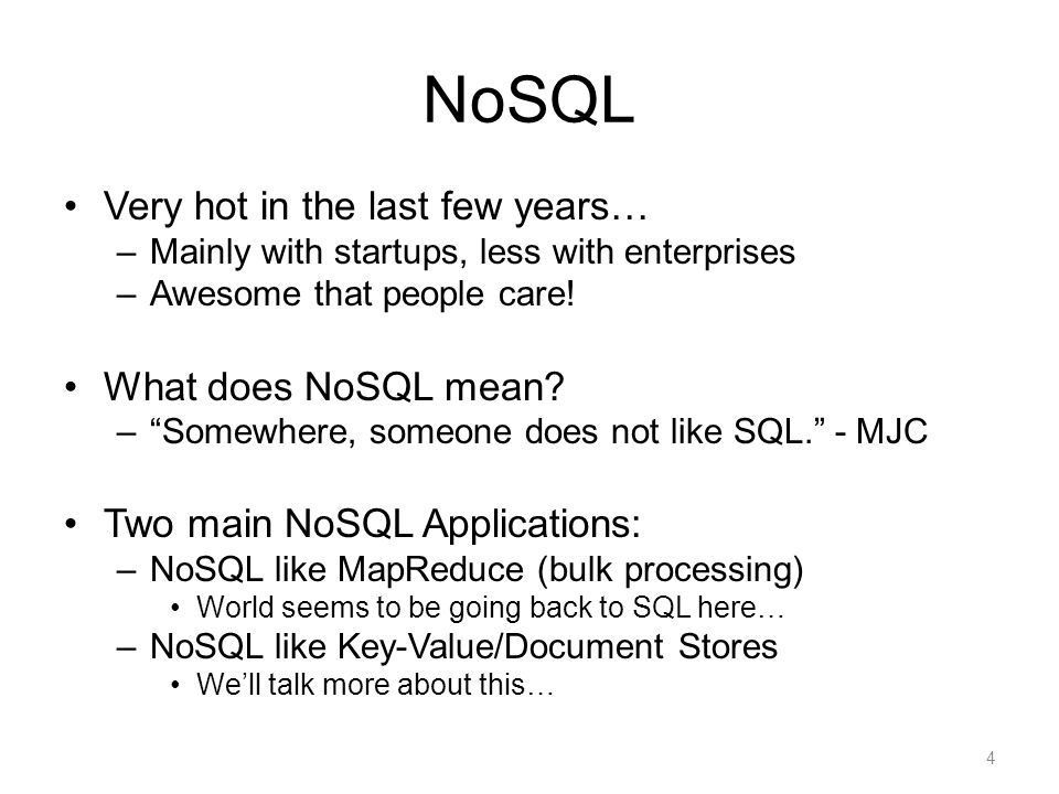 NoSQL: Overview Main objective: implement distributed state –Different objects stored on different servers –Same object replicated on different servers Main idea: give up some of the ACID constraints to improve performance Simple interface: –Write (=Put): needs to write all replicas –Read (=Get): may get only one Eventual consistency  Strong consistency 5