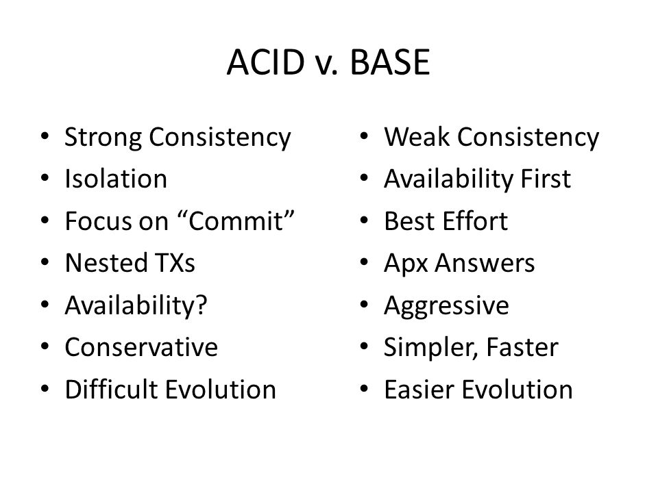 "ACID v. BASE Strong Consistency Isolation Focus on ""Commit"" Nested TXs Availability? Conservative Difficult Evolution Weak Consistency Availability Fi"