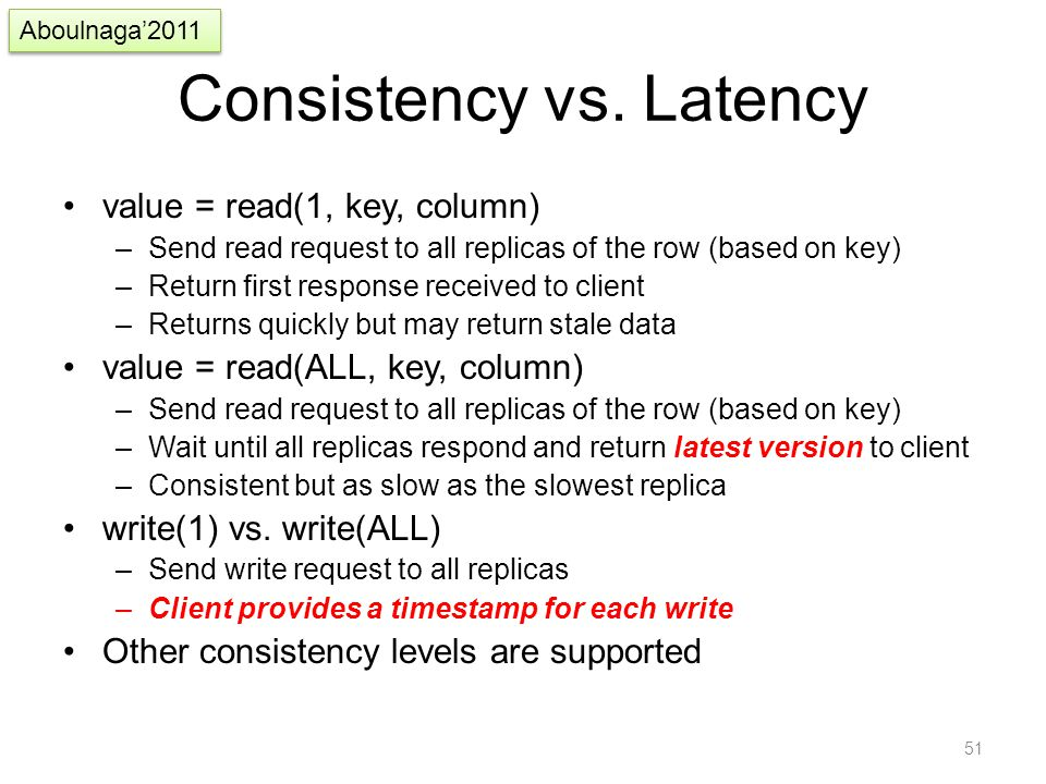 Consistency vs. Latency value = read(1, key, column) –Send read request to all replicas of the row (based on key) –Return first response received to c