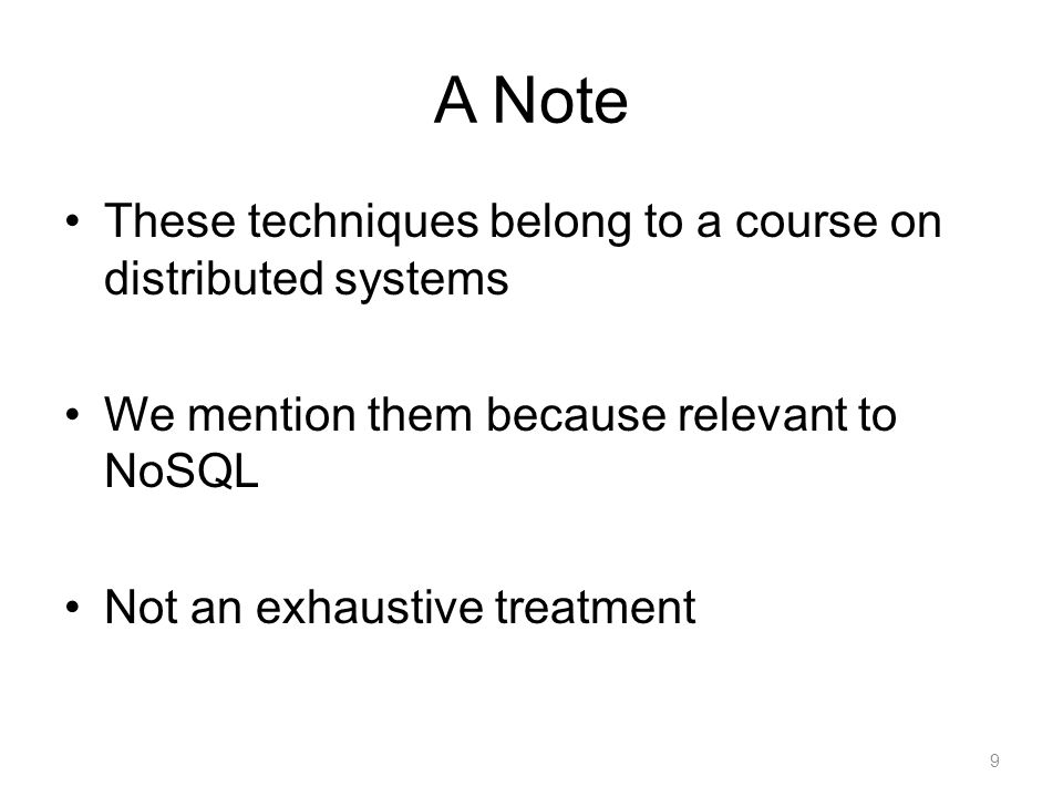 Overview of No-SQL systems 20 Cattell, SIGMOD Record 2010