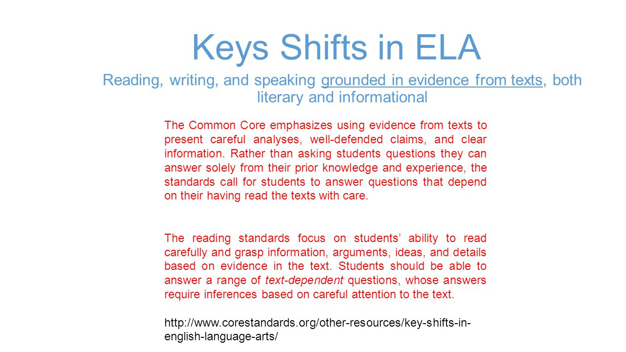 Keys Shifts in ELA Reading, writing, and speaking grounded in evidence from texts, both literary and informational The Common Core emphasizes using ev