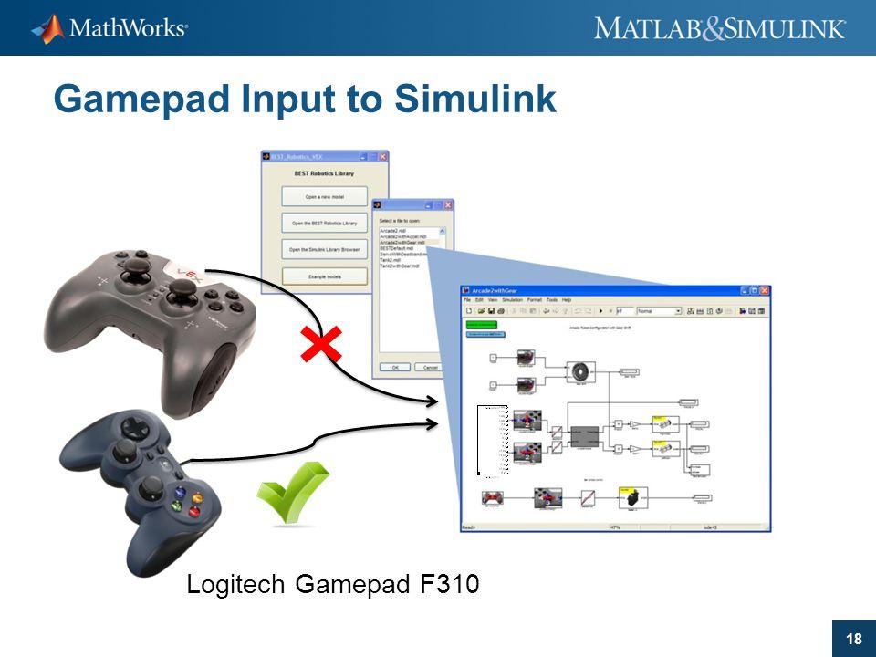 18 Gamepad Input to Simulink Logitech Gamepad F310