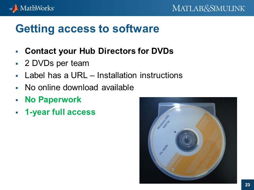 23 Getting access to software  Contact your Hub Directors for DVDs  2 DVDs per team  Label has a URL – Installation instructions  No online downlo