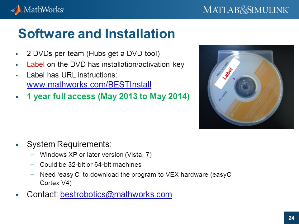24 Software and Installation  2 DVDs per team (Hubs get a DVD too!)  Label on the DVD has installation/activation key  Label has URL instructions: www.mathworks.com/BESTInstall www.mathworks.com/BESTInstall  1 year full access (May 2013 to May 2014)  System Requirements: –Windows XP or later version (Vista, 7) –Could be 32-bit or 64-bit machines –Need 'easy C' to download the program to VEX hardware (easyC Cortex V4)  Contact: bestrobotics@mathworks.combestrobotics@mathworks.com Label