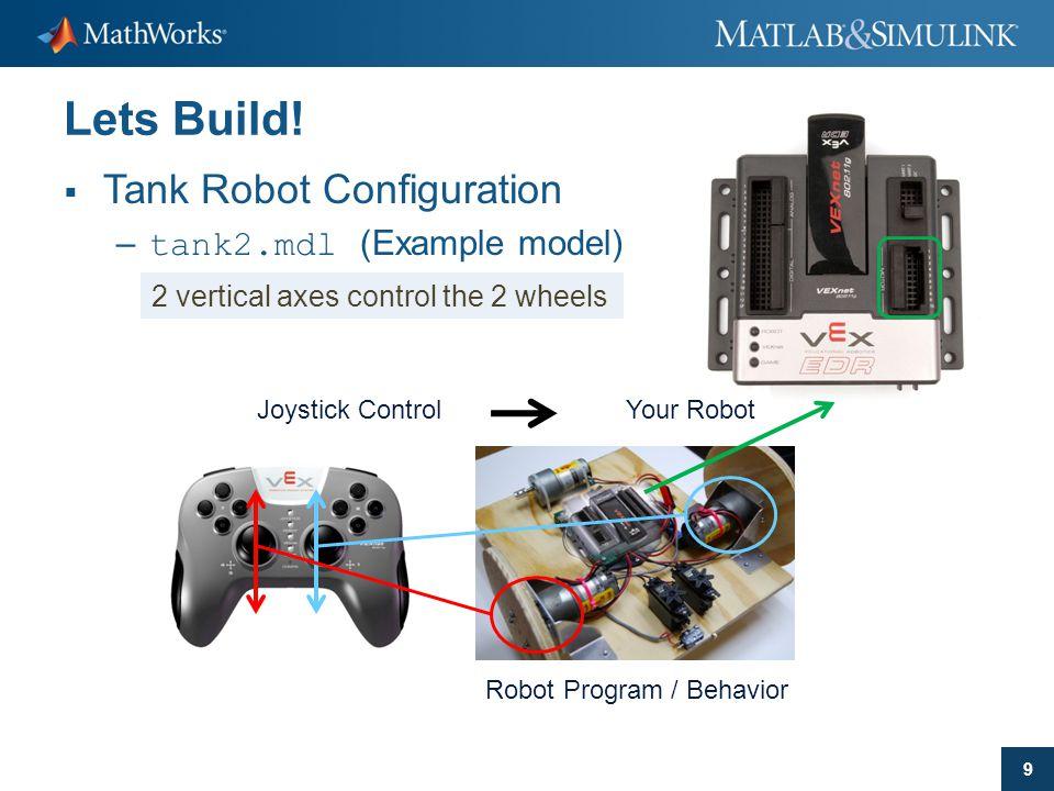 9 Lets Build!  Tank Robot Configuration – tank2.mdl (Example model) Your RobotJoystick Control 2 vertical axes control the 2 wheels Robot Program / B