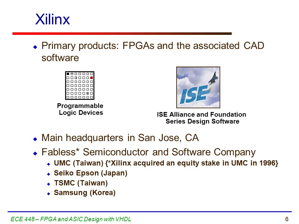 6ECE 448 – FPGA and ASIC Design with VHDL Xilinx  Primary products: FPGAs and the associated CAD software  Main headquarters in San Jose, CA  Fabless* Semiconductor and Software Company  UMC (Taiwan) {*Xilinx acquired an equity stake in UMC in 1996}  Seiko Epson (Japan)  TSMC (Taiwan)  Samsung (Korea) Programmable Logic Devices ISE Alliance and Foundation Series Design Software