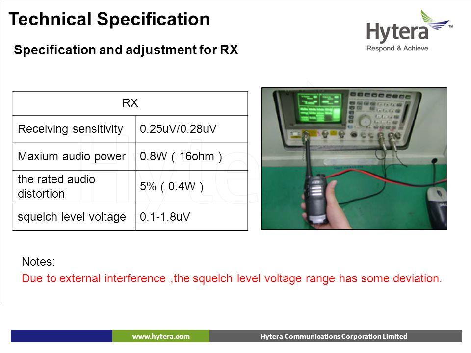 Hytera Communications Corporation Limitedwww.hytera.com Technical Specification RX Receiving sensitivity0.25uV/0.28uV Maxium audio power 0.8W ( 16ohm