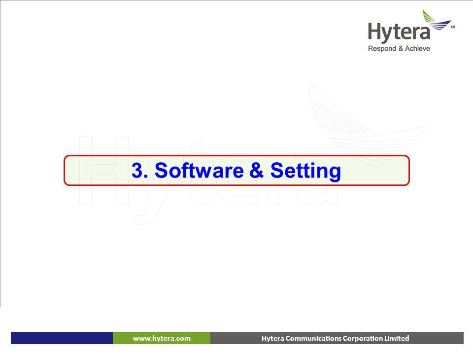 Hytera Communications Corporation Limitedwww.hytera.com 3. Software & Setting