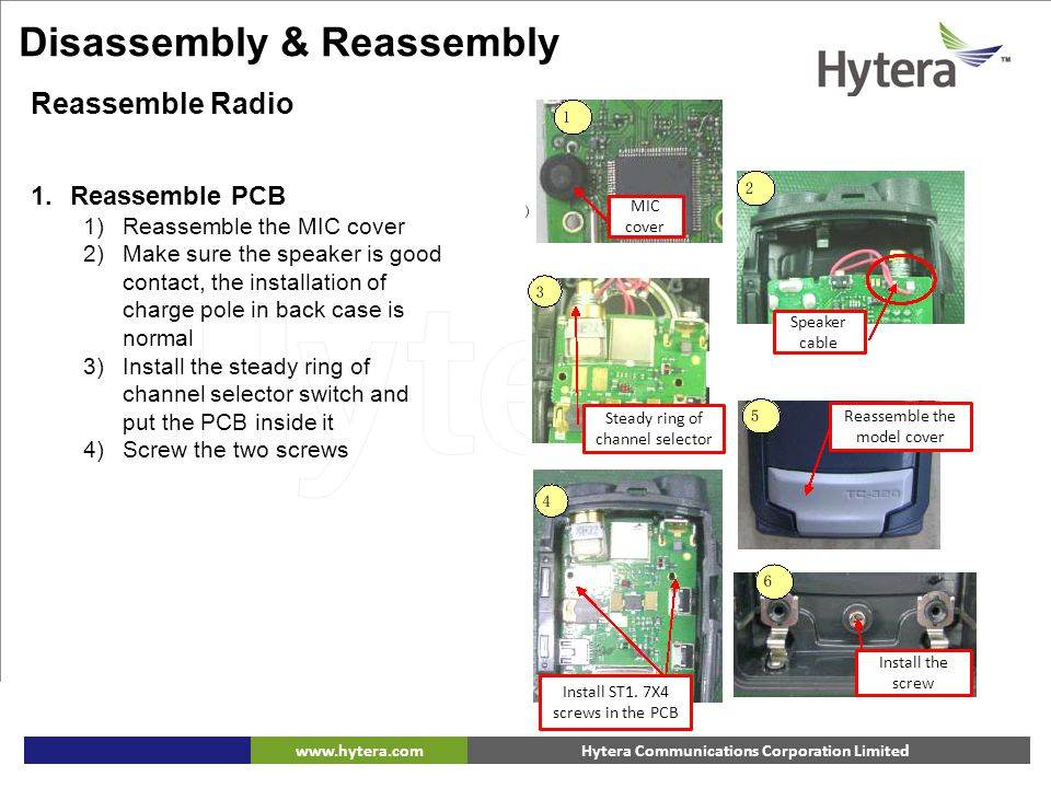 Hytera Communications Corporation Limitedwww.hytera.com 1.Reassemble PCB 1)Reassemble the MIC cover 2)Make sure the speaker is good contact, the insta