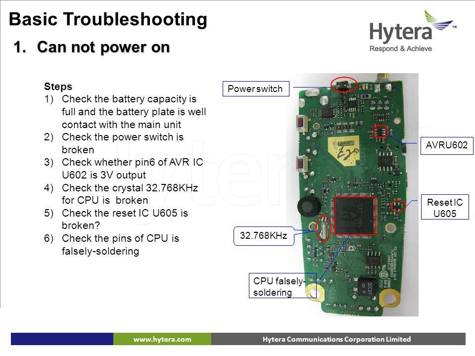 Hytera Communications Corporation Limitedwww.hytera.com 32.768KHz Power switch CPU falsely- soldering Reset IC U605 AVRU602 Basic Troubleshooting 1.Ca