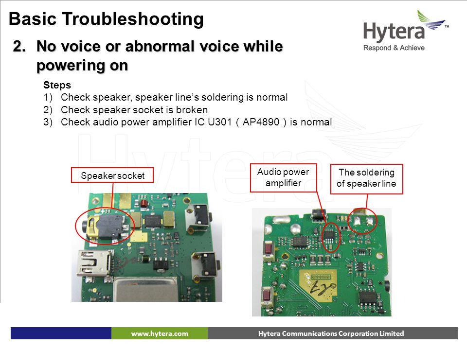 Hytera Communications Corporation Limitedwww.hytera.com Speaker socket Audio power amplifier The soldering of speaker line 6. Basic Troubleshooting Ba