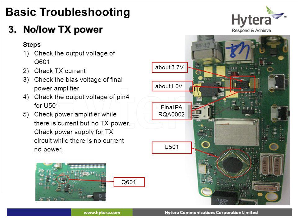 Hytera Communications Corporation Limitedwww.hytera.com about 3.7V about1.0V Final PA RQA0002 U501 Steps 1)Check the output voltage of Q601 2)Check TX