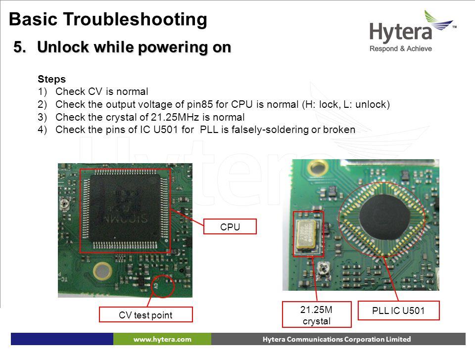 Hytera Communications Corporation Limitedwww.hytera.com CV test point 21.25M crystal PLL IC U501 CPU Basic Troubleshooting 5.Unlock while powering on