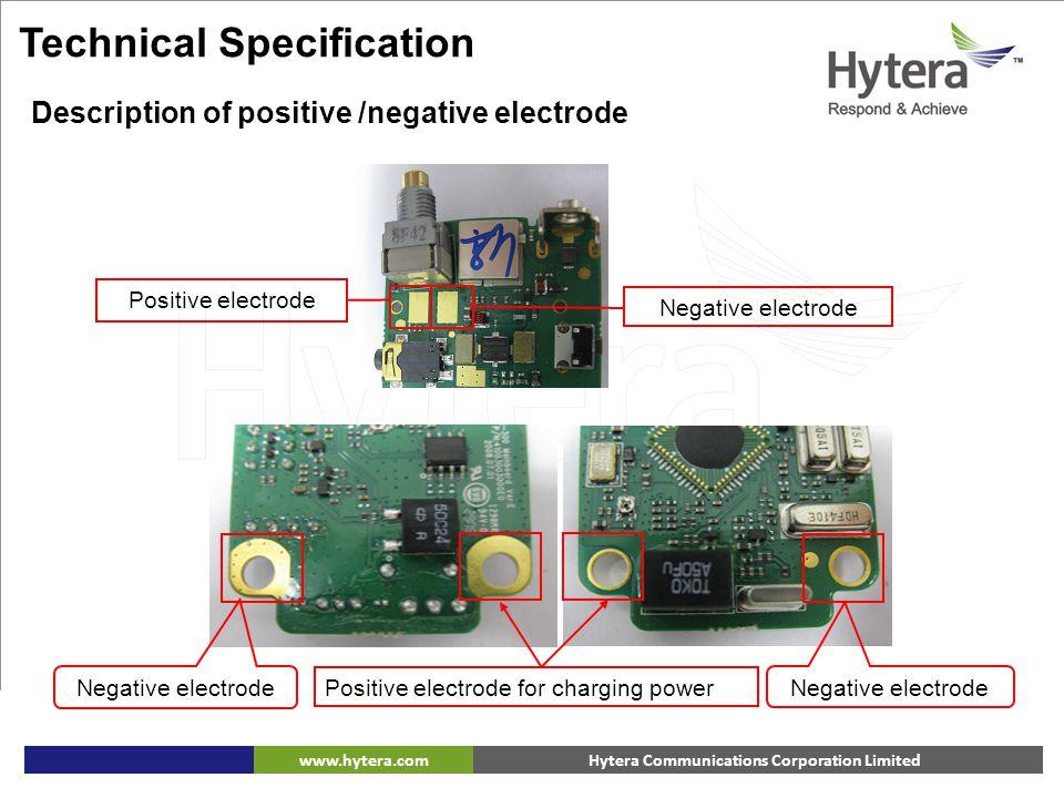 Hytera Communications Corporation Limitedwww.hytera.com Description of positive /negative electrode Positive electrode for charging power Positive ele