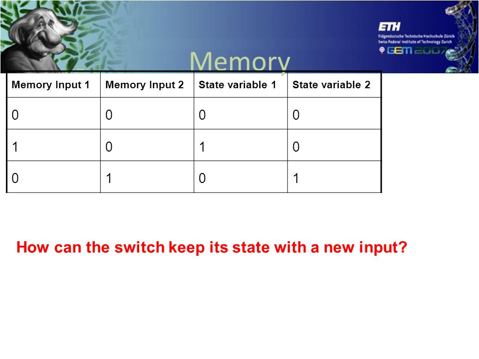 Memory Memory Input 1Memory Input 2State variable 1State variable 2 0000 1010 0101 How can the switch keep its state with a new input?