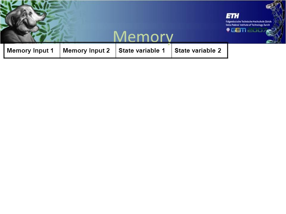 Memory Input 1Memory Input 2State variable 1State variable 2