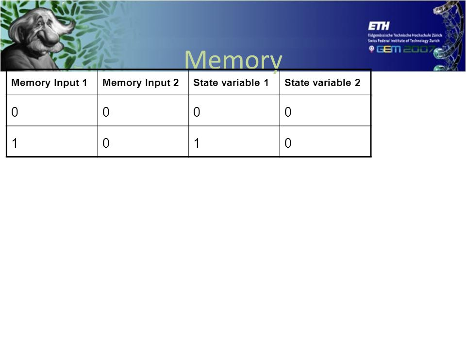 Memory Memory Input 1Memory Input 2State variable 1State variable 2 0000 1010