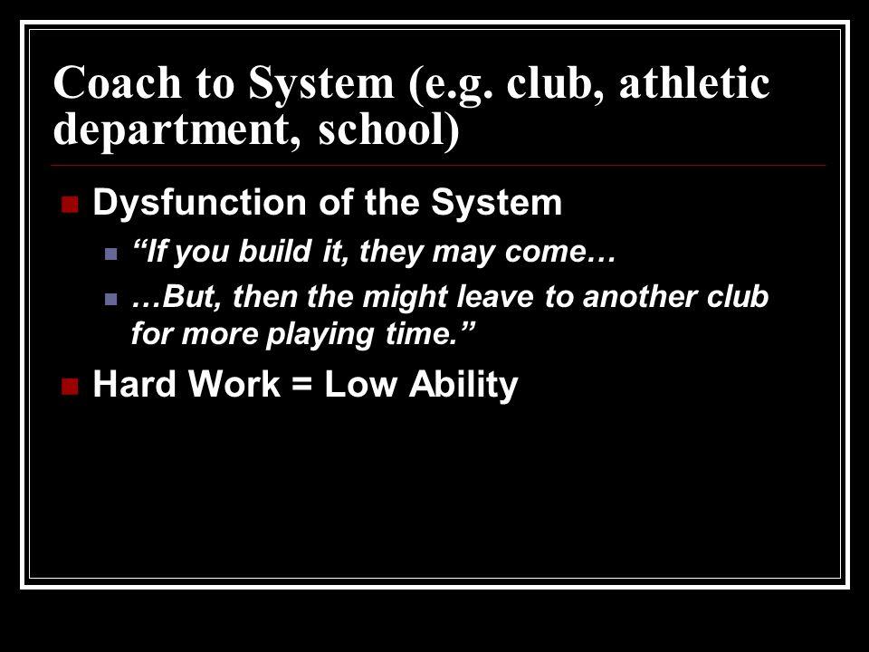 Coach to System (e.g.