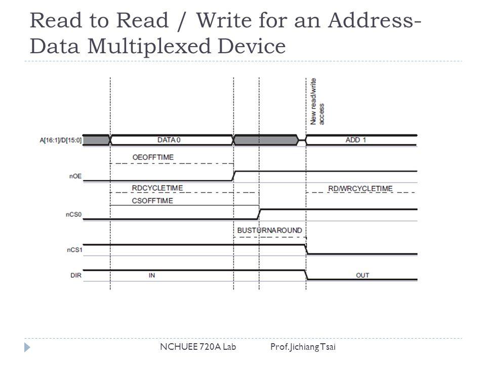 Read to Read / Write for an Address- Data Multiplexed Device NCHUEE 720A Lab Prof. Jichiang Tsai