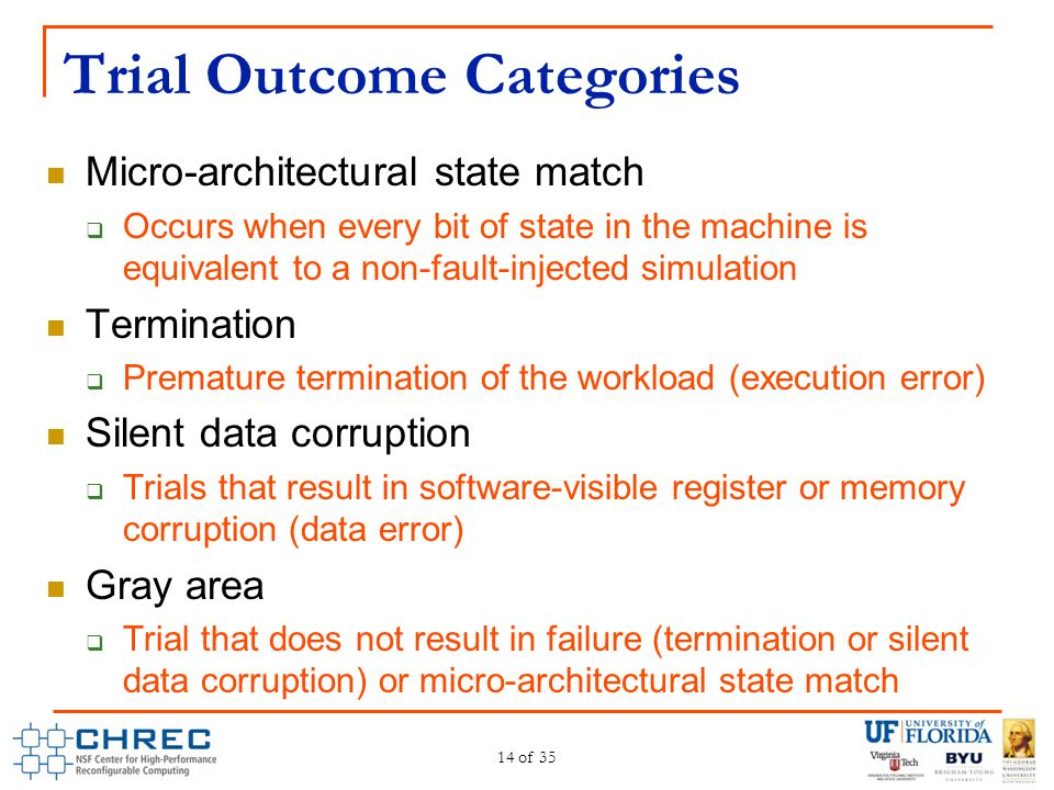 Trial Outcome Categories Micro-architectural state match  Occurs when every bit of state in the machine is equivalent to a non-fault-injected simulat