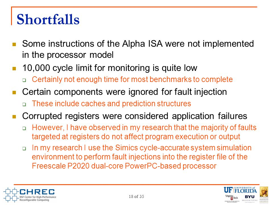 Shortfalls Some instructions of the Alpha ISA were not implemented in the processor model 10,000 cycle limit for monitoring is quite low  Certainly n