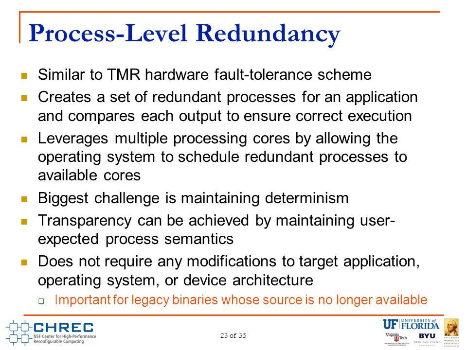 Process-Level Redundancy Similar to TMR hardware fault-tolerance scheme Creates a set of redundant processes for an application and compares each outp