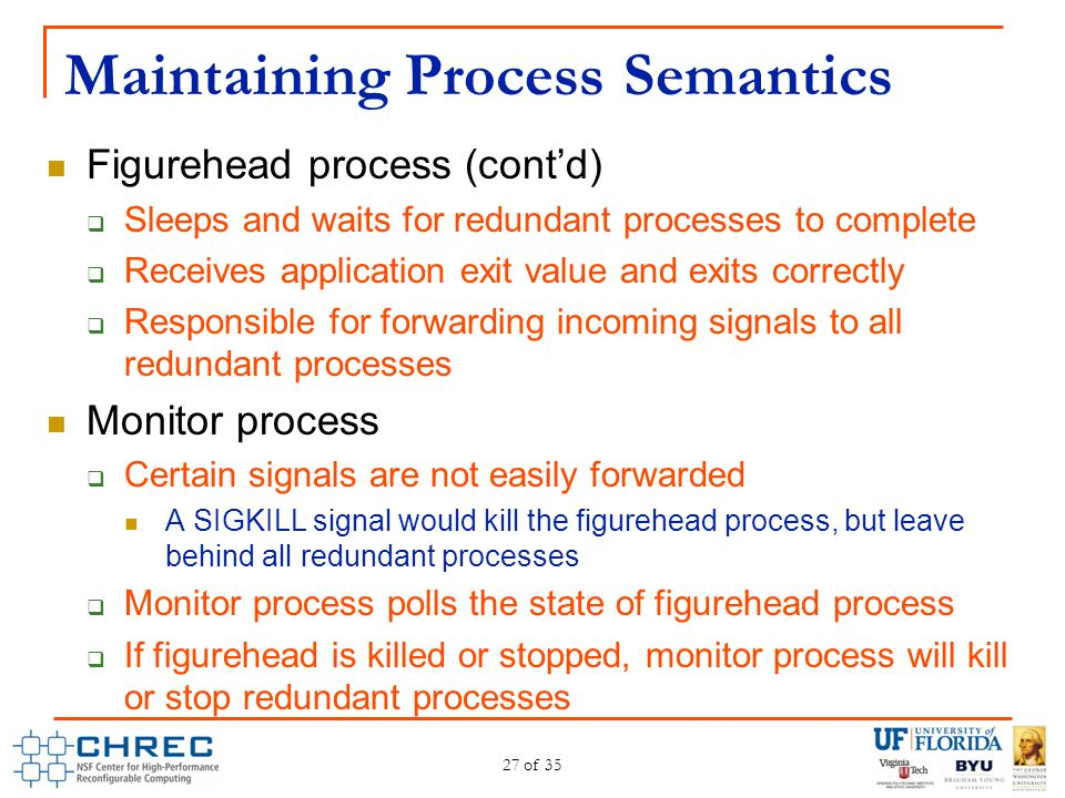 Maintaining Process Semantics Figurehead process (cont'd)  Sleeps and waits for redundant processes to complete  Receives application exit value and
