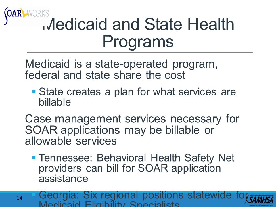 14 Medicaid and State Health Programs Medicaid is a state-operated program, federal and state share the cost  State creates a plan for what services