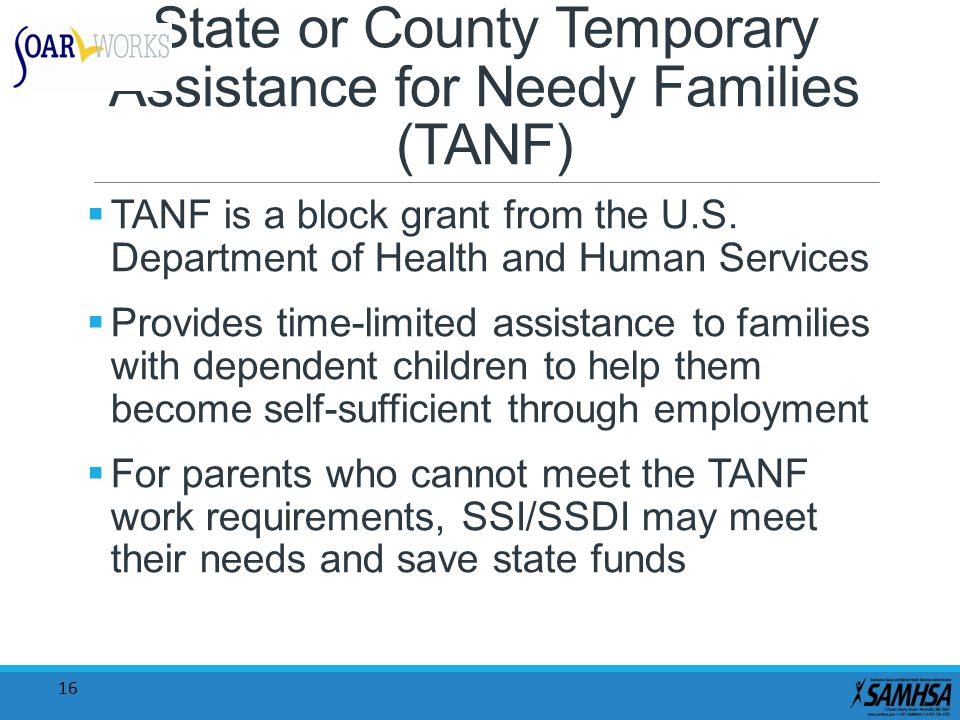 16 State or County Temporary Assistance for Needy Families (TANF)  TANF is a block grant from the U.S. Department of Health and Human Services  Prov