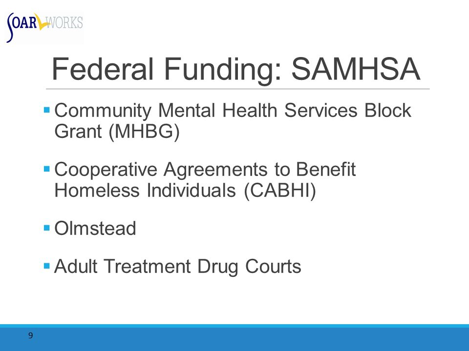 9 Federal Funding: SAMHSA  Community Mental Health Services Block Grant (MHBG)  Cooperative Agreements to Benefit Homeless Individuals (CABHI)  Olmstead  Adult Treatment Drug Courts