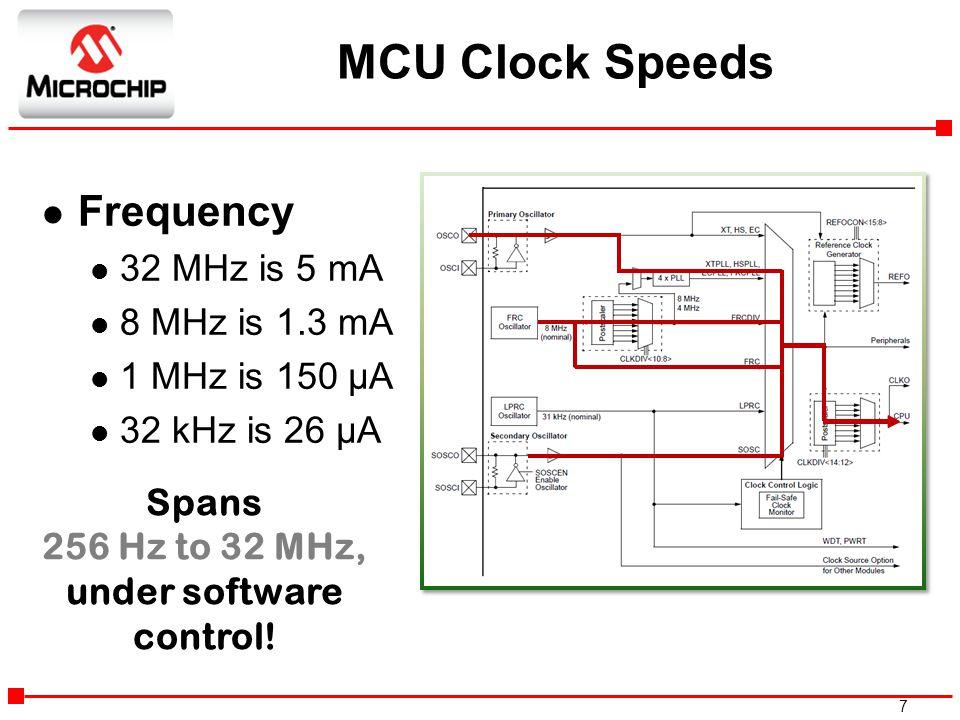 7 l Frequency l 32 MHz is 5 mA l 8 MHz is 1.3 mA 1 MHz is 150 µA 32 kHz is 26 µA Spans 256 Hz to 32 MHz, under software control! MCU Clock Speeds