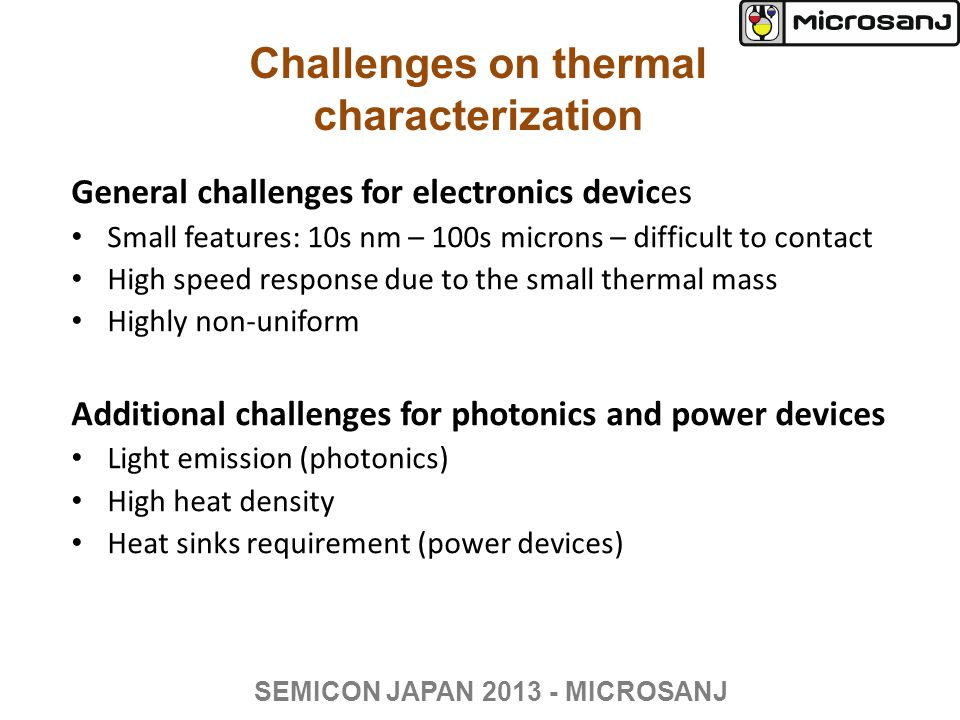 Thermoreflectance imaging setup Microscope setupConsole box SEMICON JAPAN 2013 - MICROSANJ