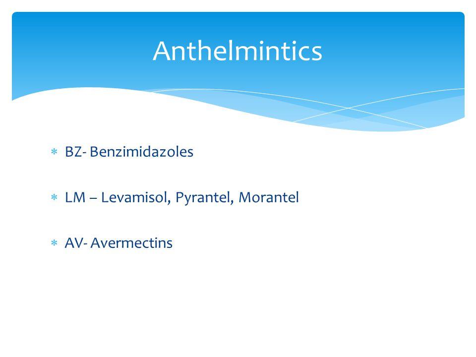  BZ- Benzimidazoles  LM – Levamisol, Pyrantel, Morantel  AV- Avermectins Anthelmintics