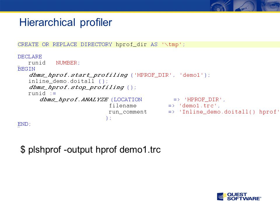Hierarchical profiler $ plshprof -output hprof demo1.trc