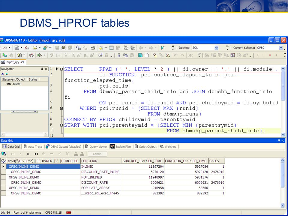 DBMS_HPROF tables