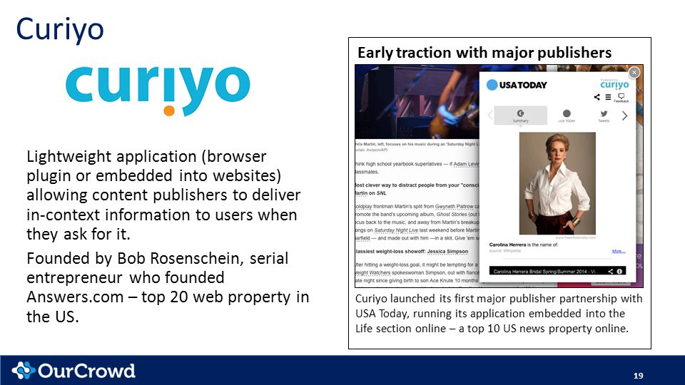19 Curiyo Lightweight application (browser plugin or embedded into websites) allowing content publishers to deliver in-context information to users when they ask for it.