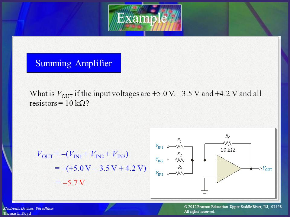 © 2012 Pearson Education. Upper Saddle River, NJ, 07458. All rights reserved. Electronic Devices, 9th edition Thomas L. Floyd Summing Amplifier V OUT