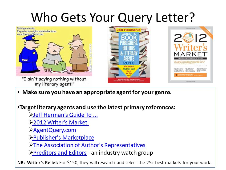 Who Gets Your Query Letter. Make sure you have an appropriate agent for your genre.
