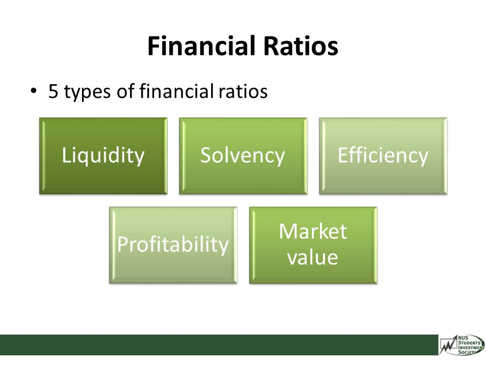 Financial Ratios LiquiditySolvencyEfficiency Profitability Market value 5 types of financial ratios
