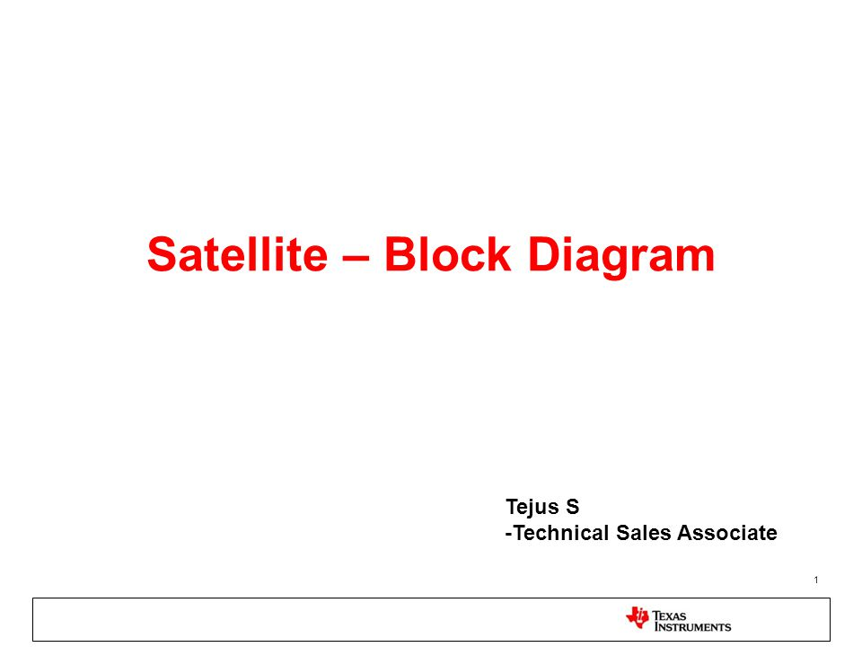 1 Satellite – Block Diagram Tejus S -Technical Sales Associate