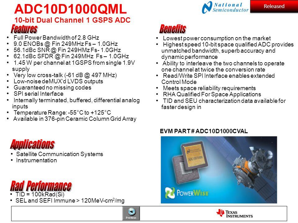 EVM PART # ADC10D1000CVAL Full Power Bandwidth of 2.8 GHz 9.0 ENOBs @ Fin 249MHz Fs – 1.0GHz 56.1dBc SNR @ Fin 249HMz Fs- 1.0GHz 62.1dBc SFDR @ Fin 24