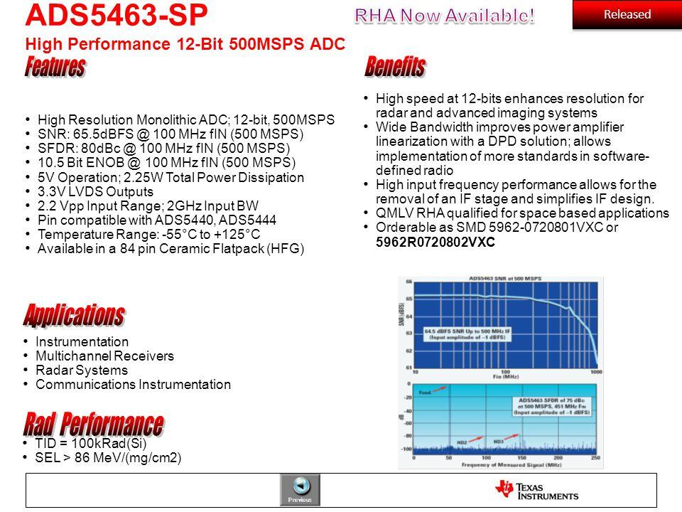 High Resolution Monolithic ADC; 12-bit, 500MSPS SNR: 65.5dBFS @ 100 MHz fIN (500 MSPS) SFDR: 80dBc @ 100 MHz fIN (500 MSPS) 10.5 Bit ENOB @ 100 MHz fI
