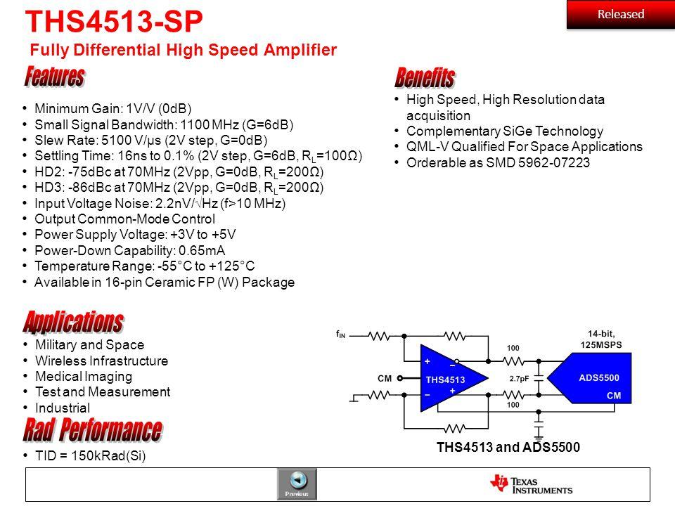 THS4513-SP Fully Differential High Speed Amplifier TID = 150kRad(Si) Minimum Gain: 1V/V (0dB) Small Signal Bandwidth: 1100 MHz (G=6dB) Slew Rate: 5100