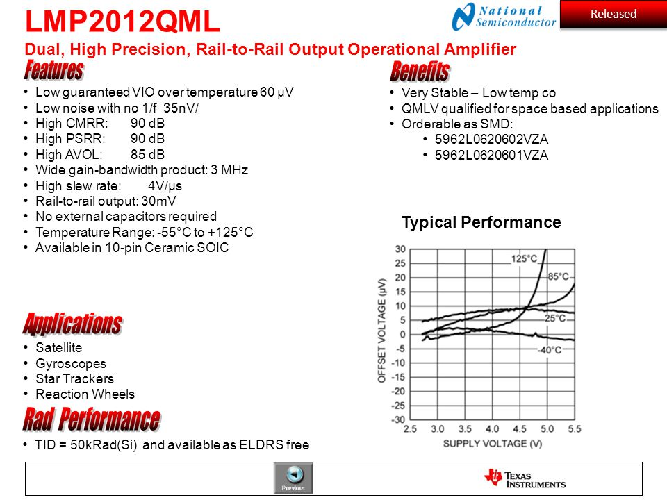 LMP2012QML Dual, High Precision, Rail-to-Rail Output Operational Amplifier Satellite Gyroscopes Star Trackers Reaction Wheels TID = 50kRad(Si) and ava