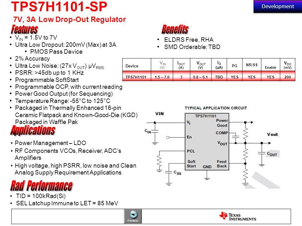 TPS7H1101-SP 7V, 3A Low Drop-Out Regulator ELDRS Free, RHA SMD Orderable: TBD V IN = 1.5V to 7V Ultra Low Dropout: 200mV (Max) at 3A PMOS Pass Device