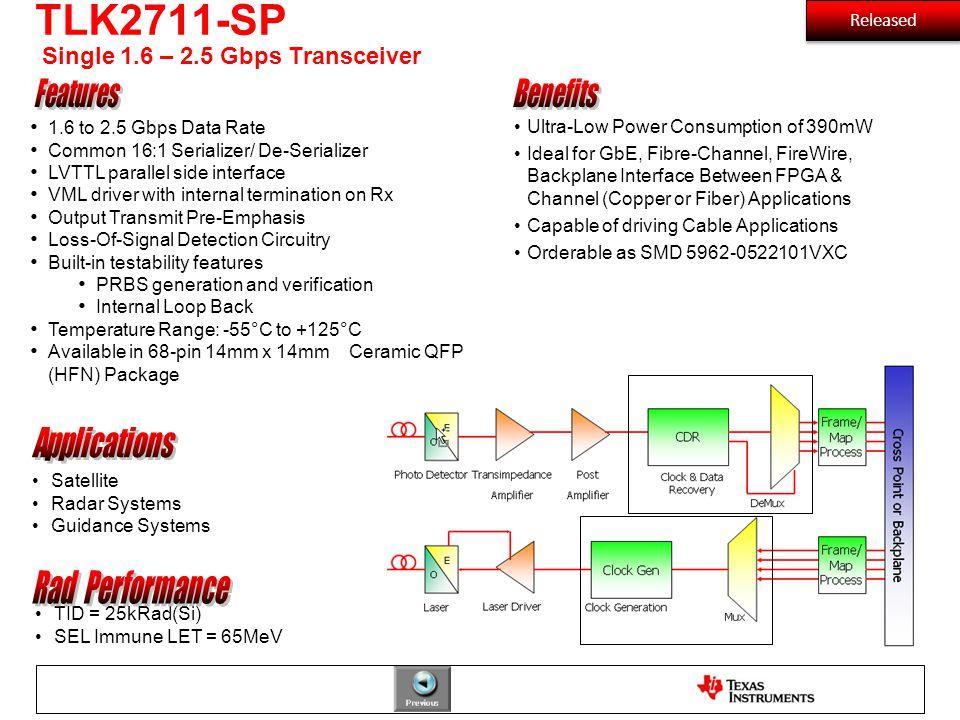 TLK2711-SP Single 1.6 – 2.5 Gbps Transceiver Satellite Radar Systems Guidance Systems TID = 25kRad(Si) SEL Immune LET = 65MeV 1.6 to 2.5 Gbps Data Rat
