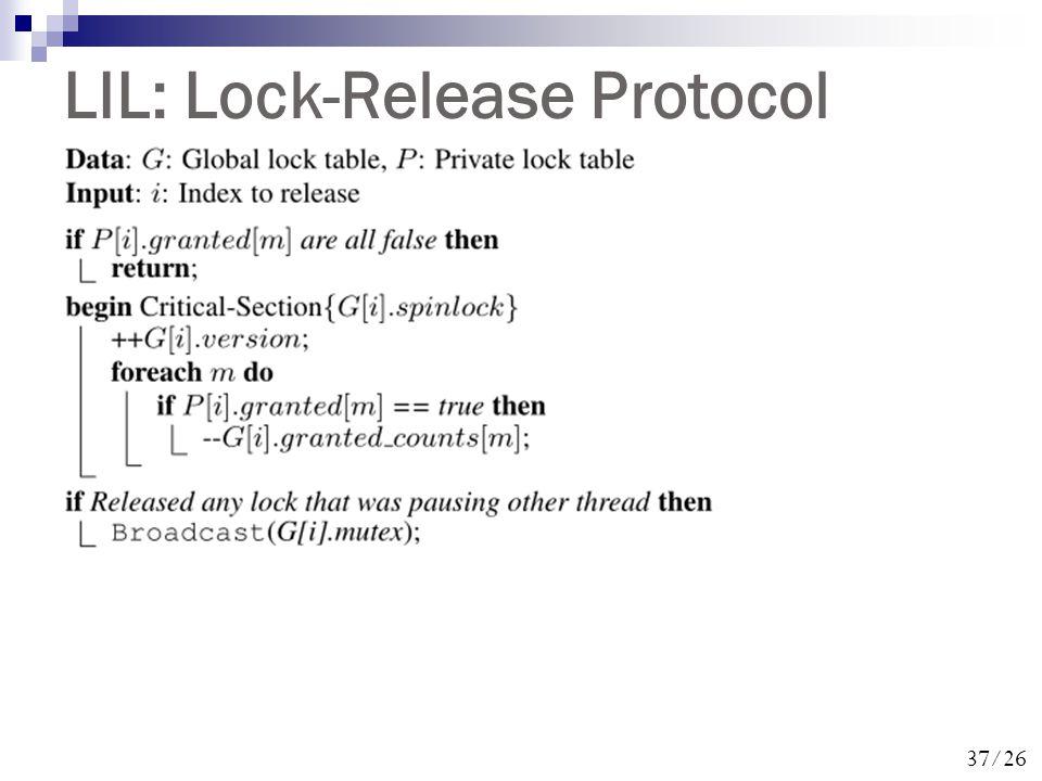 37/26 LIL: Lock-Release Protocol